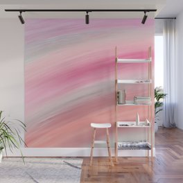 Girly aurora pink coral abstract brushstrokes Wall Mural