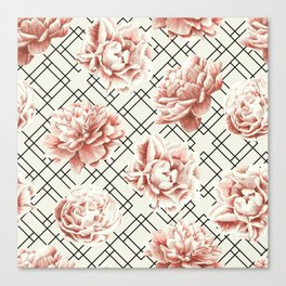 Simply Mod Diamond Roses in Cream and Black Canvas Print