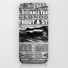 retro noir et blanc London Long Distance Travel iPhone Case
