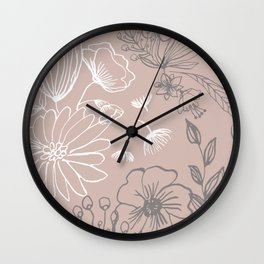 Line Art, Pink and Gray, Floral Prints Wall Clock