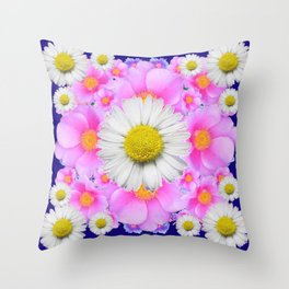 Pink Roses Blue Color Shasta Daisies Pattern Garden Throw Pillow