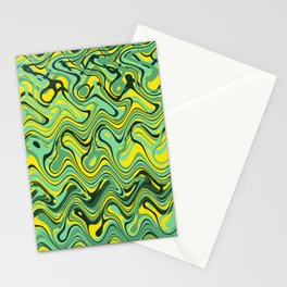 Abstract Wave yellow green Stationery Cards