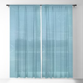 Blue Bubble and Ripple water print Sheer Curtain