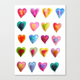watercolour hearts colourful heart pattern Canvas Print