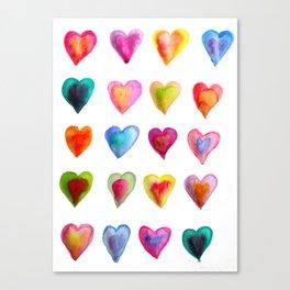 watercolour hearts colourful heart pattern Canvas Print