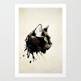 Boxcar, the Black Cat. Art Print