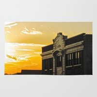 theatre Area & Throw Rugs featuring Palace Theatre Sunset by Biff Rendar