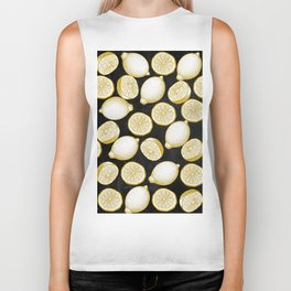 Lemons on black background Biker Tank