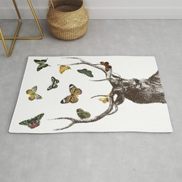 The Stag and Butterflies | Deer and Butterflies | Vintage Stag | Vintage Deer | Antlers | Woodland | Rug