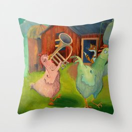 Chicken Parade Throw Pillow