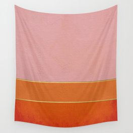 Orange, Pink And Gold Abstract Painting Wall Tapestry