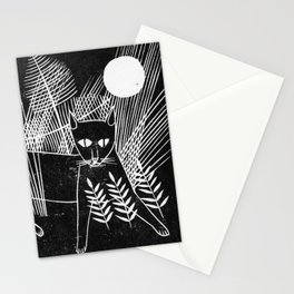 Cat Block Print Stationery Cards