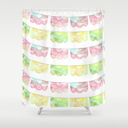 Pastel Watercolor Papel Picado Shower Curtain