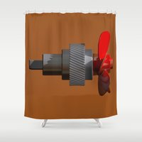 metal gear Shower Curtains featuring Propeller with gear by Carlo Toffolo
