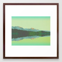 Lake Morning - Green Framed Art Print