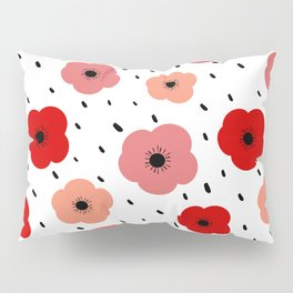 cute colorful pattern background with poppies Pillow Sham