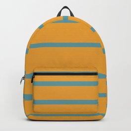 Variable Stripes Minimalist Mustard Orange and Turquoise Blue Backpack