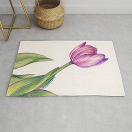 Purple Tulip in Colored Pencil Rug