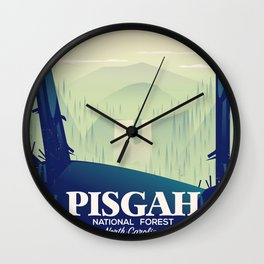 North Carolina Pisgah national park travel poster Wall Clock