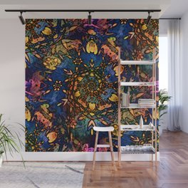 Floral swirl with bold colors Wall Mural