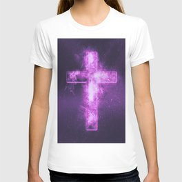 Christian cross symbol. Abstract night sky background. T-shirt