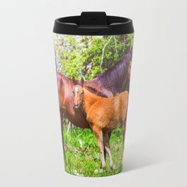 Mother horse with little foal Travel Mug