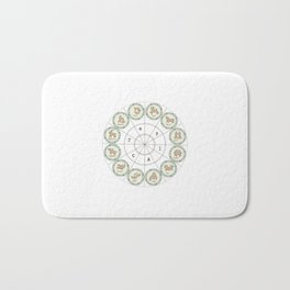 Zodiac map cosmos universe moon-vibes galaxy space pattern green decor buyart, society6 Bath Mat