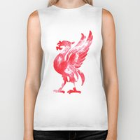 liverpool Biker Tanks featuring Liverpool Liver Bird watercolour  by sarah illustration