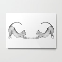 Two Cats in Watercolor   Achromatic Palette Metal Print
