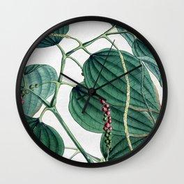 Green leaves I Wall Clock