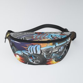 Speed Shop Hot Rod Muscle Car Parts and Service Vintage Cartoon Illustration Fanny Pack