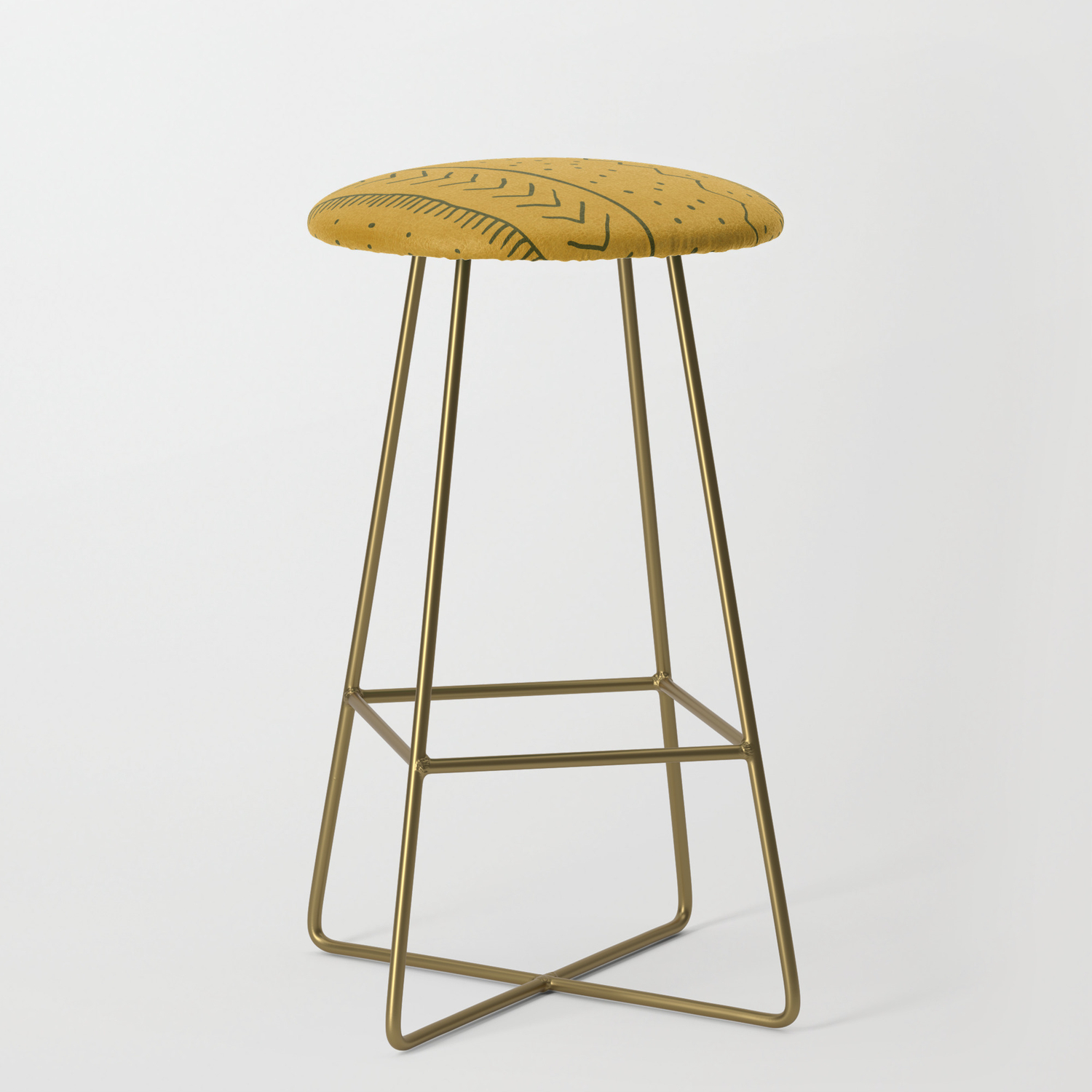 Moroccan Stripe In Mustard Yellow Bar Stool By Beckybailey1 Society6