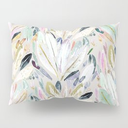 Pastel Shimmer Feather Leaves on Gray Pillow Sham