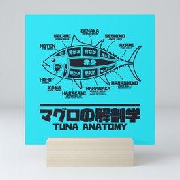Tuna Anatomy Japanese Maguro Sushi - Cyan Mini Art Print