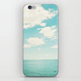 Turquoise Ocean Landscape Art, Aqua Blue Seascape Photo, Teal Sea Horizon Photography iPhone Skin