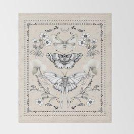 Three Moths Throw Blanket