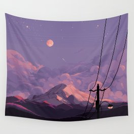 Mt Rainier with Powerlines Wall Tapestry