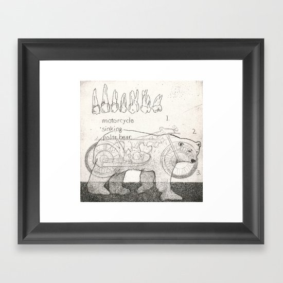 Motorcycle Sinking Polar Bear Framed Art Print