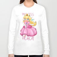 princess peach Long Sleeve T-shirts featuring Princess Peach by Chimi-uzz