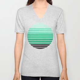 Teal Green Mid Century Modern Minimalist Scandinavian Colorful Stripes Geometric Pattern Round Circl Unisex V-Neck