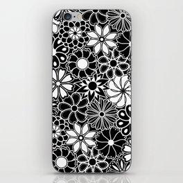 Mid Century Hawaiian Flower Print - Black and White iPhone Skin
