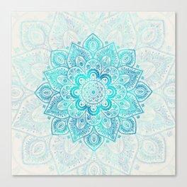 Turquoise Lace Mandala Canvas Print