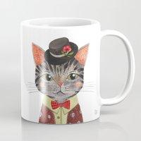 oana befort Mugs featuring COOL CAT by Oana Befort