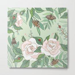 Roses, Moths and Ladybirds Metal Print