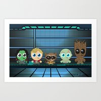 guardians of the galaxy Art Prints featuring GUARDIANS OF THE GALAXY by Chris Thompson, ThompsonArts.com