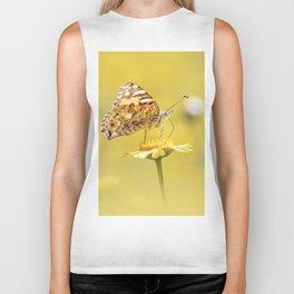 Orange butterfly feeding on yellow marigolds Biker Tank
