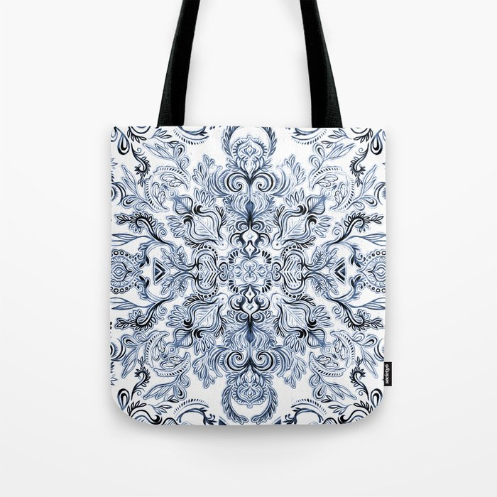 Indigo, Navy Blue and White Calligraphy Doodle Pattern Tote Bag