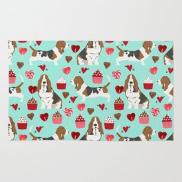 Basset Hound valentines day cute gifts for dog lover pet portrait dog breed custom illustration Rug