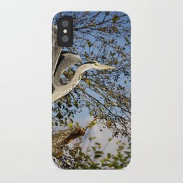 Grey Heron taking flight iPhone Case