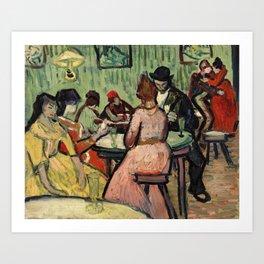 The Brothel  by Vincent Van Gogh. European finest art. Art Print